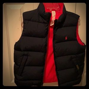Unisex Polo youth reversible down vest.